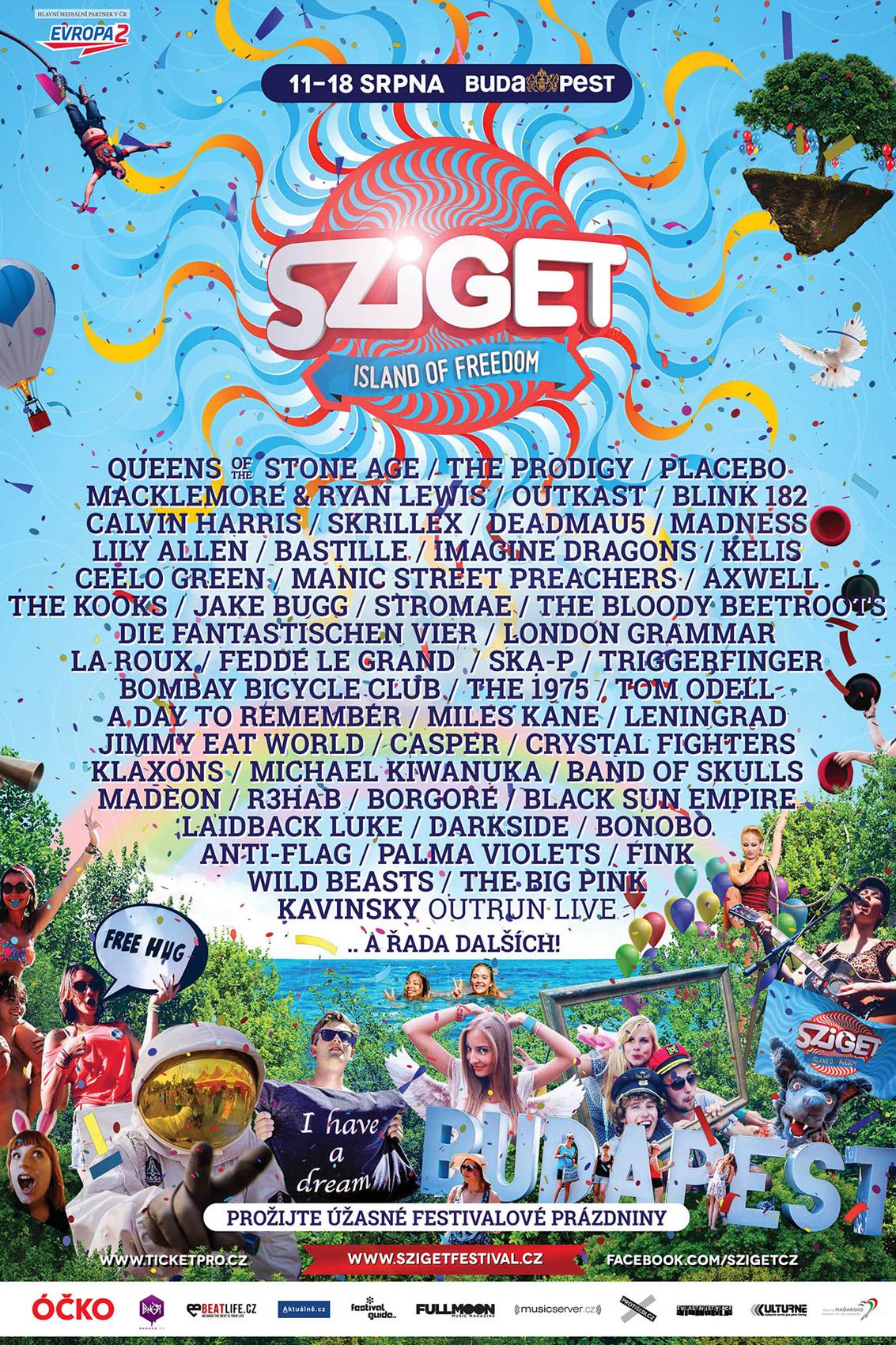 Sziget festival - plakat červen 2014 - CZ
